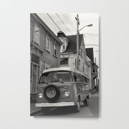 Old V W Camper Van in Lunenburg Nova Scotia, Canada Black & White Photo Metal Print