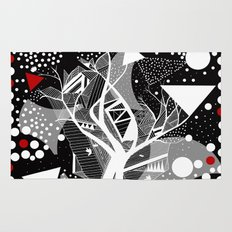 black and white abstract with touch of red Rug