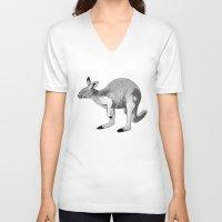kangaroo V-neck T-shirts featuring Kangaroo by Goodnight Silver