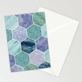 Mixed greens & blues - marble hexagons Stationery Cards