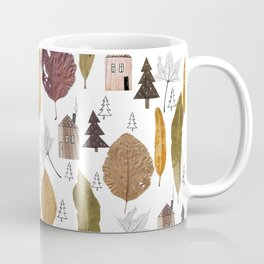 Pattern with autumn leaves and houses and spruces. Coffee Mug