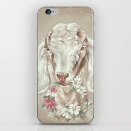 Goat with Floral Wreath by Debi Coules iPhone Skin