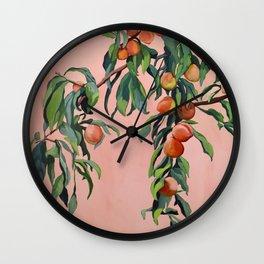 Foliage II / Peach Tree Wall Clock