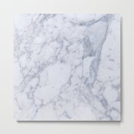 Gray And White Marble Texture Metal Print