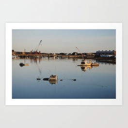 Boats in the river Art Print