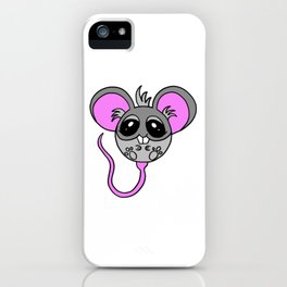 Drawn by hand a Friendly little mouse for children and adults iPhone Case