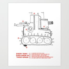 every tank i ever drew in third grade Art Print
