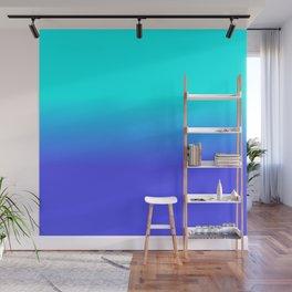 Neon Blue and Bright Neon Aqua Ombré Shade Color Fade Wall Mural