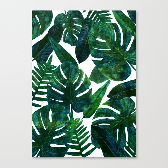 Tropical Nature Monstera Watercolor Painting, Botanical Jungle Dark Palm Illustration Leinwanddruck