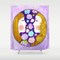 gemini Shower Curtains featuring Gemini by Sandra Nascimento