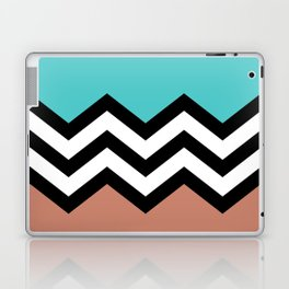 AQUA & DARK CORAL CHEVRON COLORBLOCK Laptop & iPad Skin
