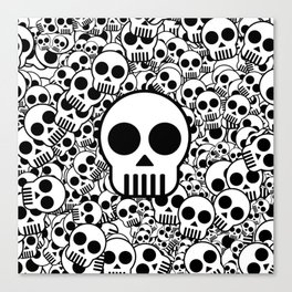 Skull Texture Black White Surface Canvas Print