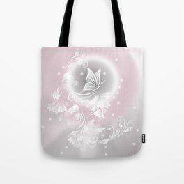 Blush Gray Floral Butterfly Fantasy Tote Bag