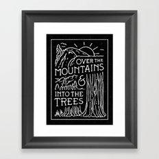 OVER THE MOUNTAINS (BW) Framed Art Print