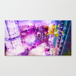 Retro Comic City Canvas Print