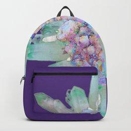 SPARKLING GREEN & PURPLE QUARTZ CRYSTALS PURPLE ART Backpack
