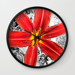 Red Day Lily in Black, White, and Red Wall Clock