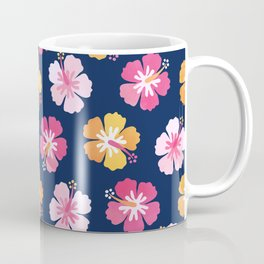 CANDY COLORED HIBISCUS on NAVY Coffee Mug