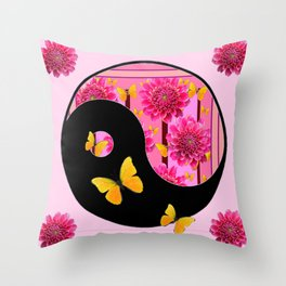 YING-YANG PINK DAHLIAS BUTTERFLY ART Throw Pillow