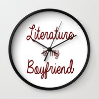 literature Wall Clocks featuring literature is my boyfriend red by Beautiful Bibliophile's Boutique