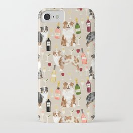 Australian Shepherd blue and red merle wine cocktails yappy hour pattern dog breed iPhone Case