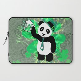 Patrick the Panda in Distressed Shamrock Background Laptop Sleeve
