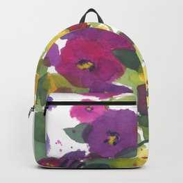 Purple Hollyhock Garden Backpack