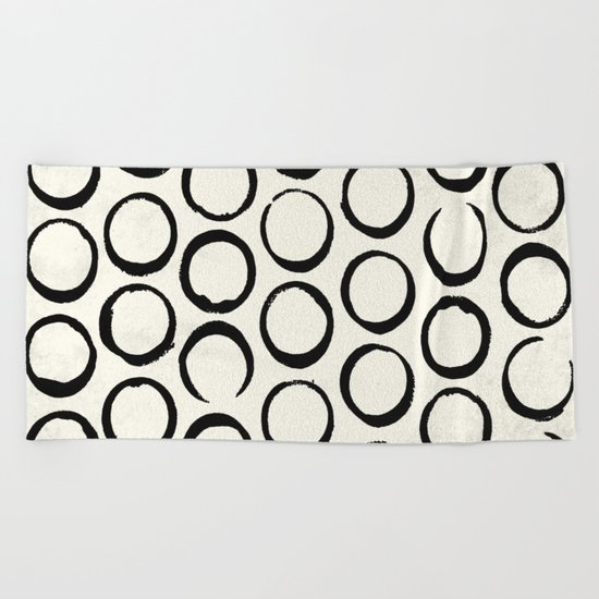 Polka Dots Circles Tribal Black and White Beach Towel