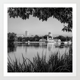 Foliage Framed Denver Skyline Reflections - Square Format - Black and White Art Print