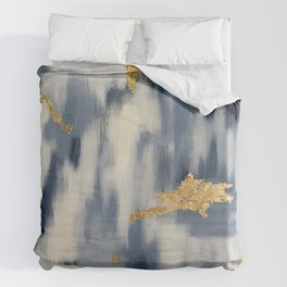 Blue and Gold Ikat Pattern Abstract Duvet Cover