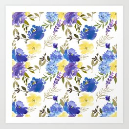 Bouquets of Blue and Yellow Blossom with Gold Leaves on Gray Art Print