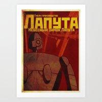 laputa Art Prints featuring Laputa russian poster by KickPunch