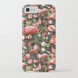 Floral and Flemingo Pattern iPhone Case