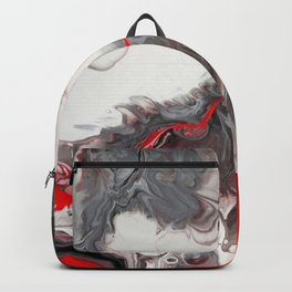 No Dice - Black, Silver and Red Abstract Backpack