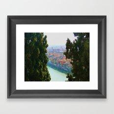 Edifici Colorati Vicino al Fiume. Framed Art Print