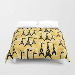 Mid Century Modern Giraffe Pattern Black and Yellow Duvet Cover
