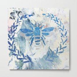 Honey Bee Wreath Blue Farmhouse Country Rustic Metal Print