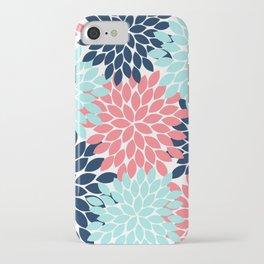 Navy Coral Aqua Floral Pattern Flower Burst Petals iPhone Case