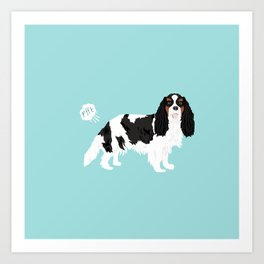 Cavalier King Charles Spaniel tricolored funny farting dog breed gifts Art Print