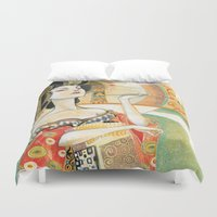 gustav klimt Duvet Covers featuring Klimt Oiran by Sara Richard