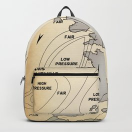 British Isles vintage weather map poster Backpack
