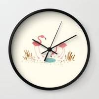 flamingos Wall Clocks featuring Flamingos by Sophie Corrigan