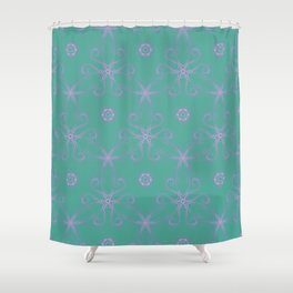 Green garden Swirl Repeating Pattern Shower Curtain