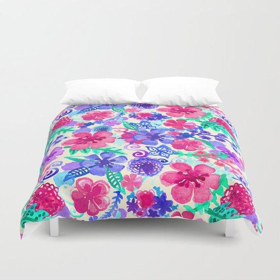 Fresh Watercolor Floral Pattern Duvet Cover