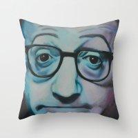 woody allen Throw Pillows featuring Woody Allen by Boaz