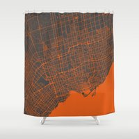 toronto Shower Curtains featuring Toronto Map by Map Map Maps