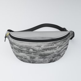 Black and White Pacific Ocean Waves Fanny Pack