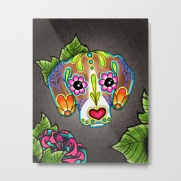 Beagle - Day of the Dead Sugar Skull Dog Metal Print