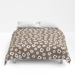 Coffee Brown White Flower Pattern Comforters