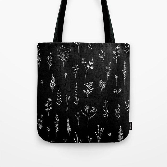 Black wildflowers Tote Bag